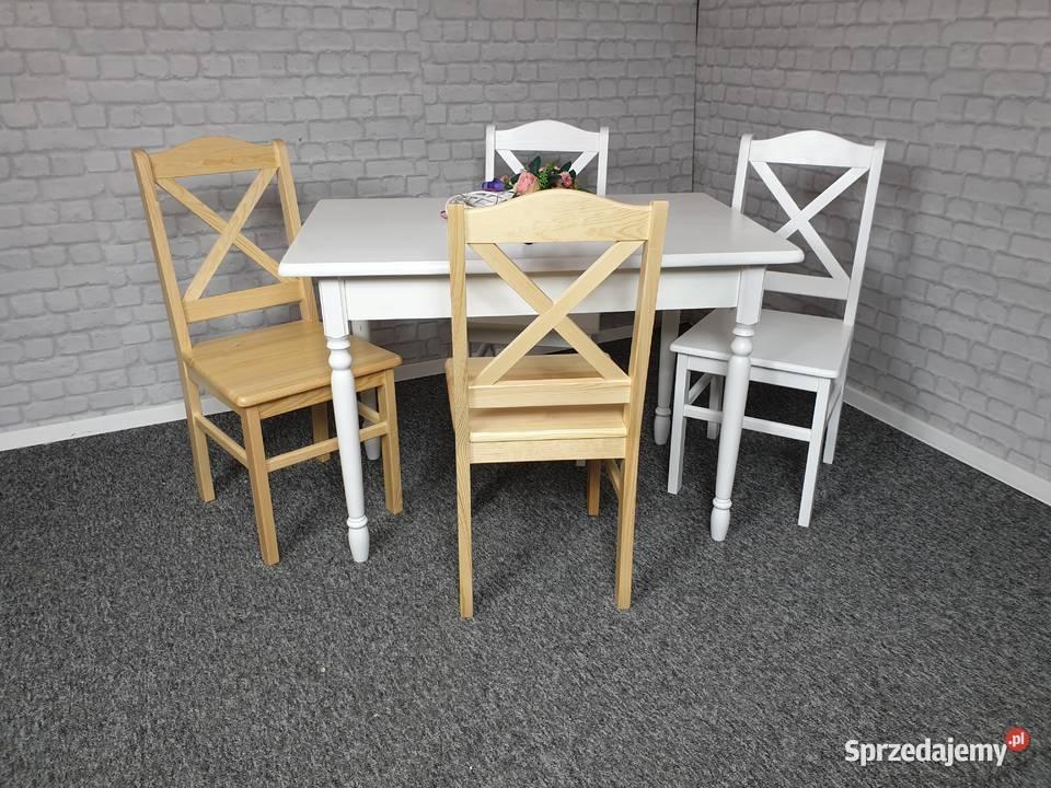 Komplet stół 110x70 i 4 krzesła drewniane białe prowansalski