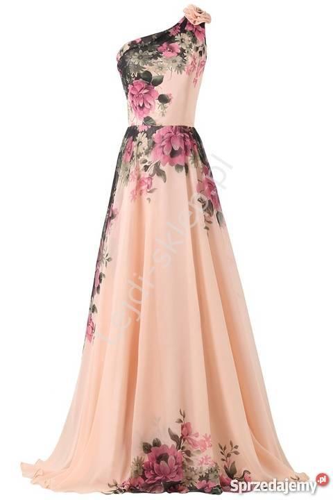 872b9b88a9 Długa suknia w kwiaty na jedno ramię Inny materiał mazowieckie Warszawa