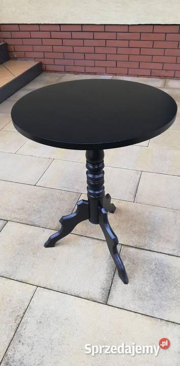 Stolik okrągły czarny kawowy stół stylowy