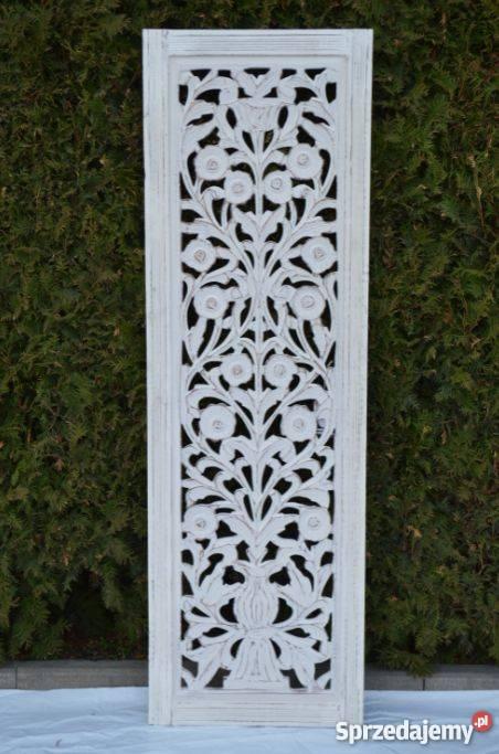 Rzeźbiony panel indyjski biały