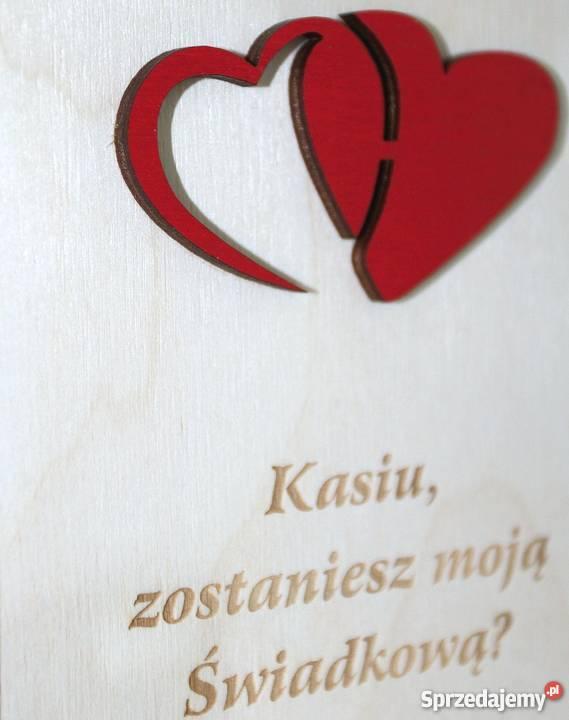 Zaproszenia ŚWIADKÓW z drewnianą okładką E12