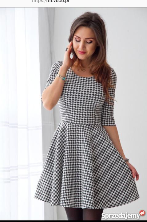 4f8f6d87da Sukienka w czarno-białą pepitke Odrzywół - Sprzedajemy.pl