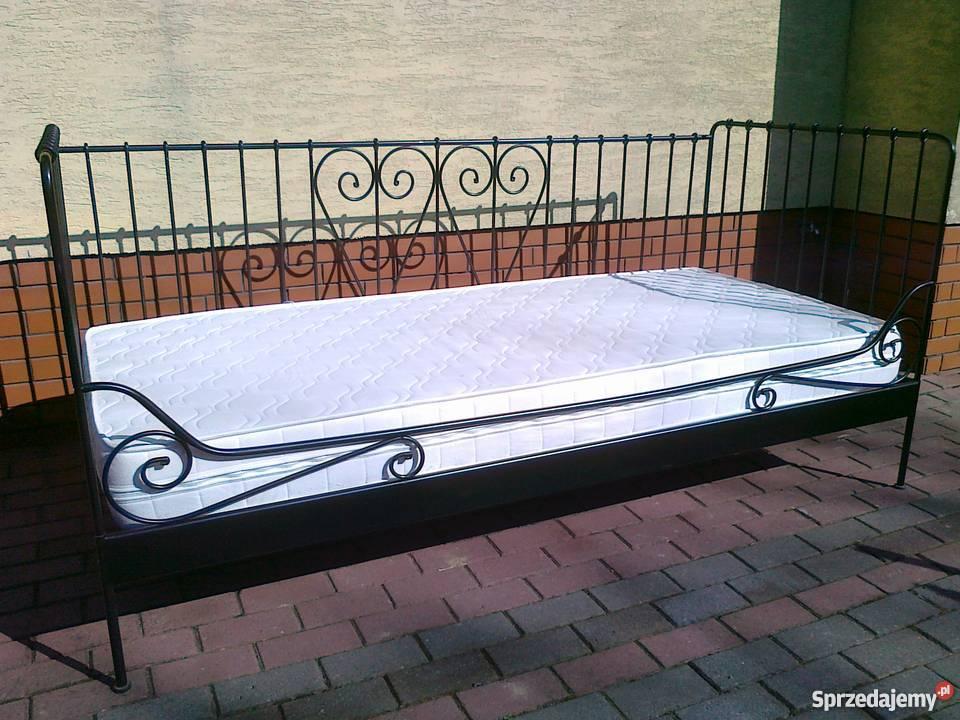 łóżko Rama Metalowe Ikea Meldal Czarne 90x200 Stelaż Mater
