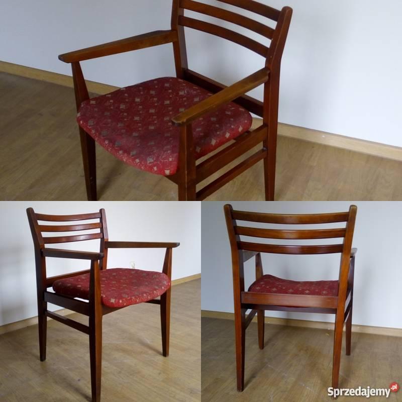 Drewniany Fotel tapicerowany PRL, Meble PRL, Krzesła PRL