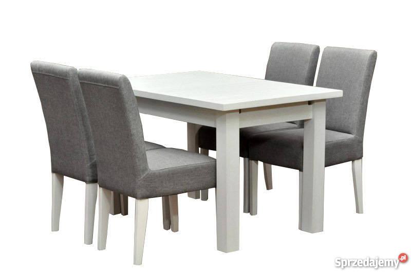 Komplet stół biały i 4 krzesła białe szare wygodne tapicerow