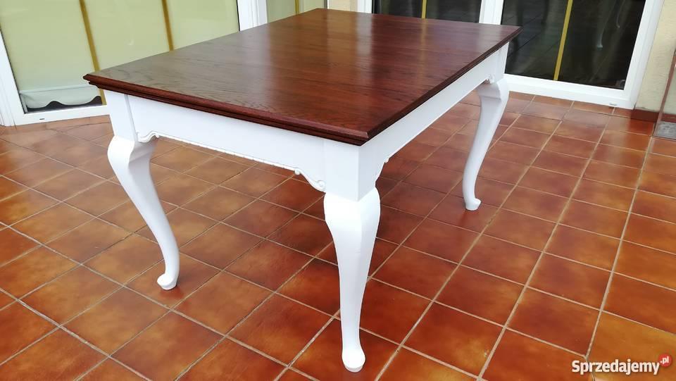 Stół ludwik stylowy drewniany biały do krzeseł