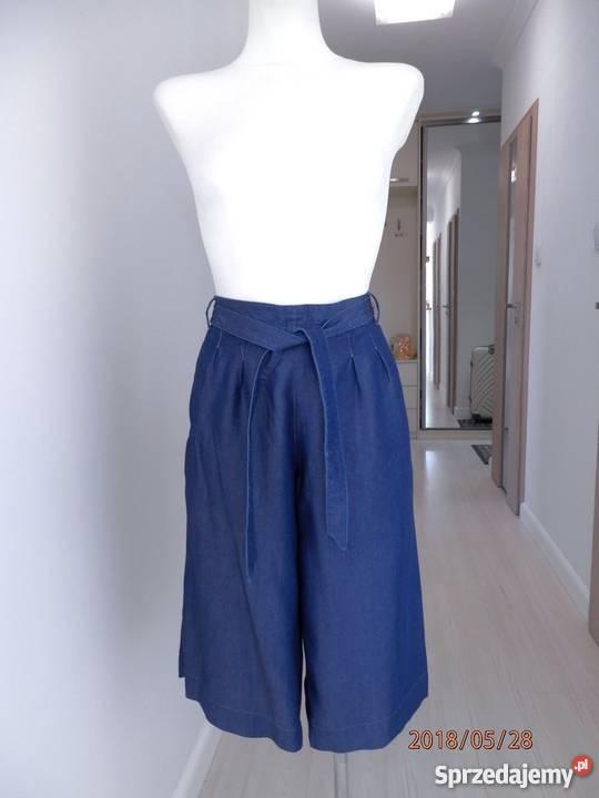 fa6a2051 Spodnie Dżinsowe Kuloty Wysoki Stan Modne Wiązanie M