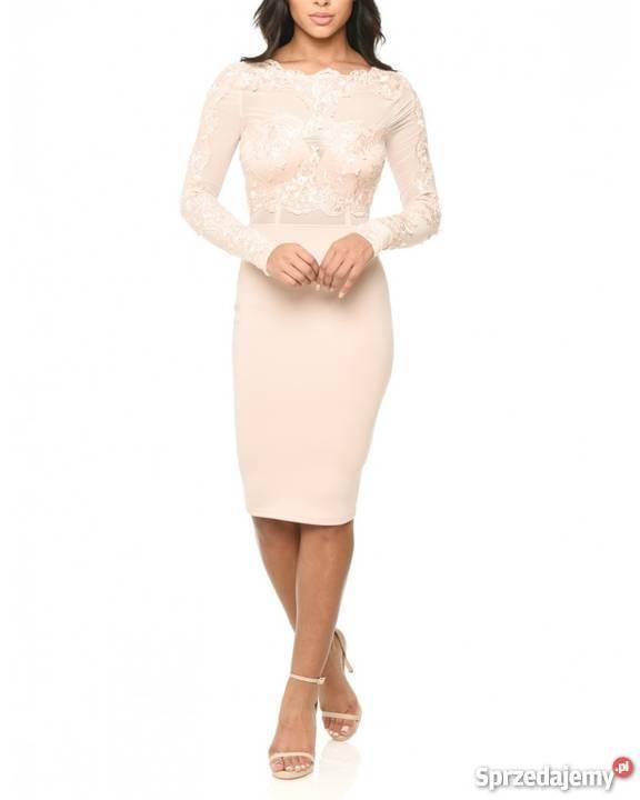 19b0b9fab6 Koronkowa ołówkowa sukienka midi z siateczką Spódnice i sukienki Czeladź