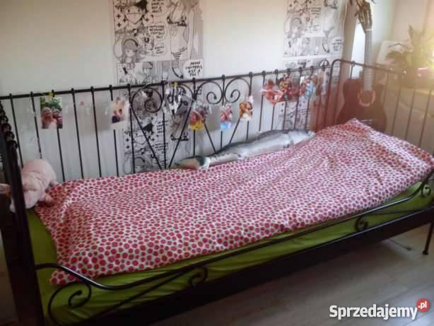 łóżko Jednoosobowe Metalowe Czarne