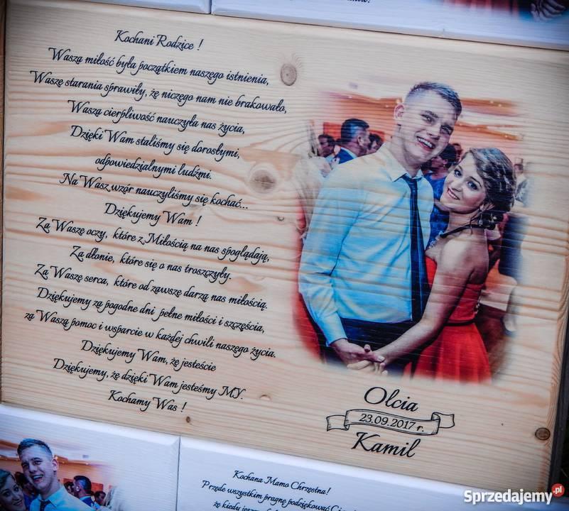 Podziękowania ślubne rodziców NA DESCE prezent Szczawno-Zdrój
