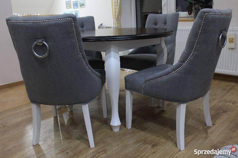 Eleganckie Krzesło Fotel Z Kołatką Pikowane Z Pinezkami