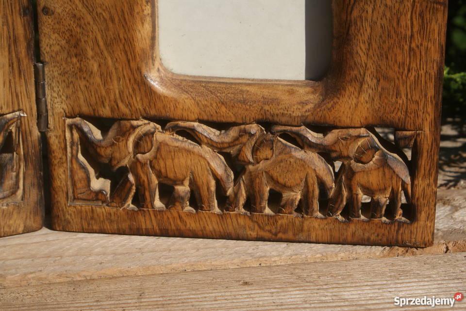 Duża drewniana ramka na zdjęcia motyw w słonie