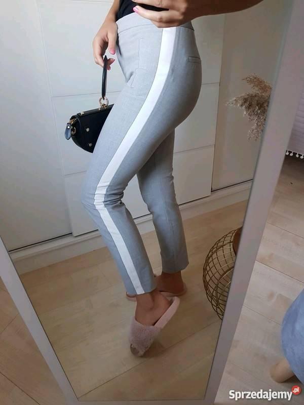 materiałowe spodnie z lampasem zara szare eleganckie casual