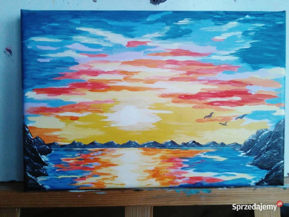 Obraz farby akrylowe na płótnie 20x30 cm zachód słońca