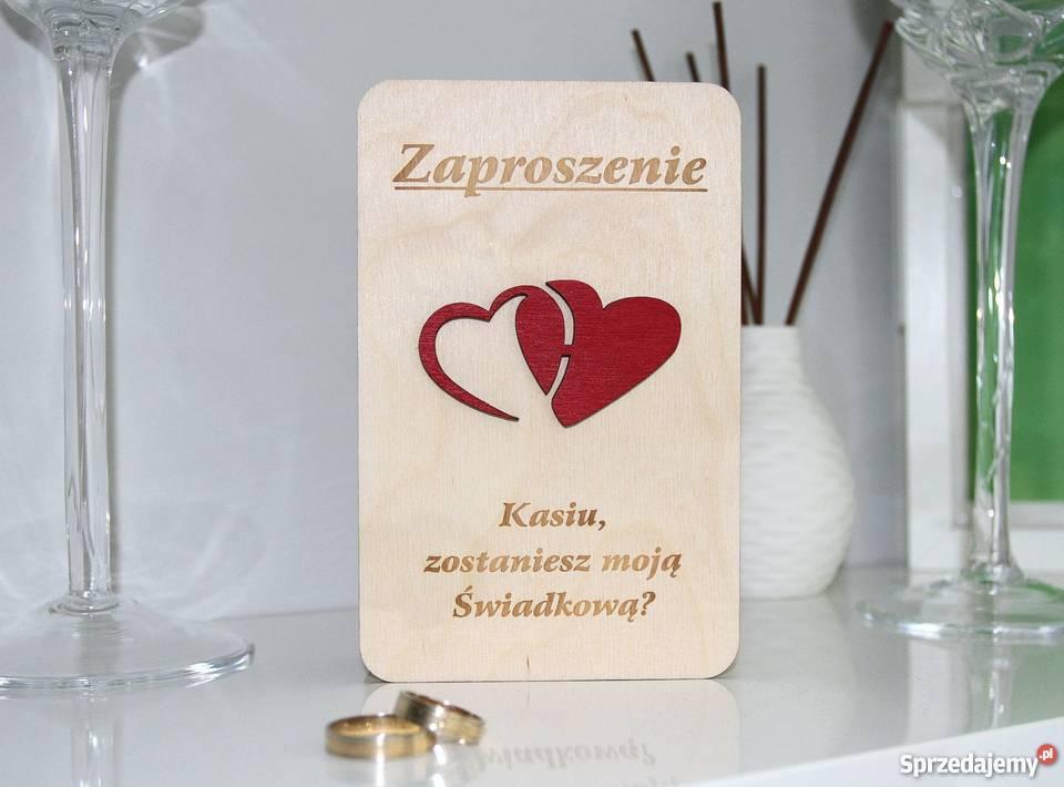Zaproszenia ŚWIADKÓW z drewnianą okładką E12 Pozostałe mazowieckie Warszawa