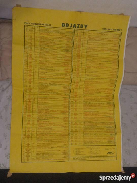 Plakat Pkp Odjazdy Warszawa Centralna 1988 R Rozkład ścienny