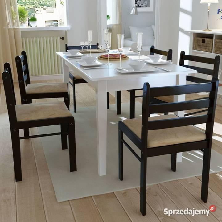 vidaXL Krzesła stołowe, 6 szt., brązowe, lite  (272091)
