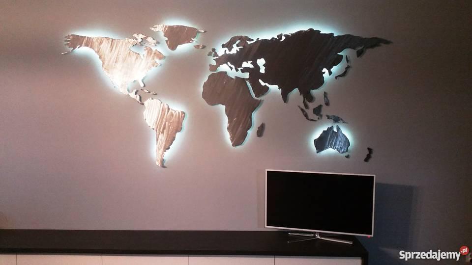 Mapa świata Podświetlana LED Stalowa Ręcznie Warszawa