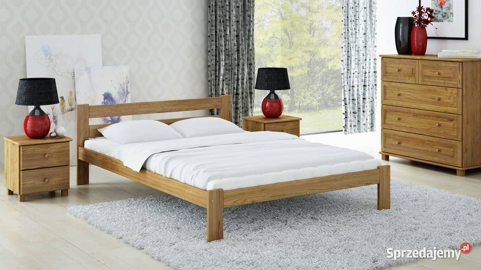 Meble Magnat łóżko drewniane sosnowe 140x200 Mato kolor dąb