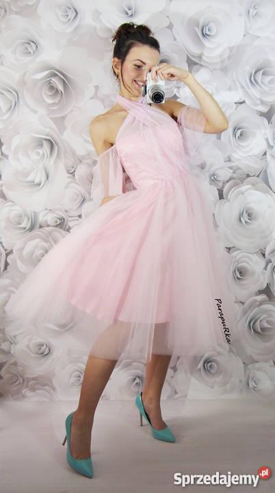 dd1fe41b8c Sukienka tiulowa szyfonowa z koła midi wesele bal róż kolory ...