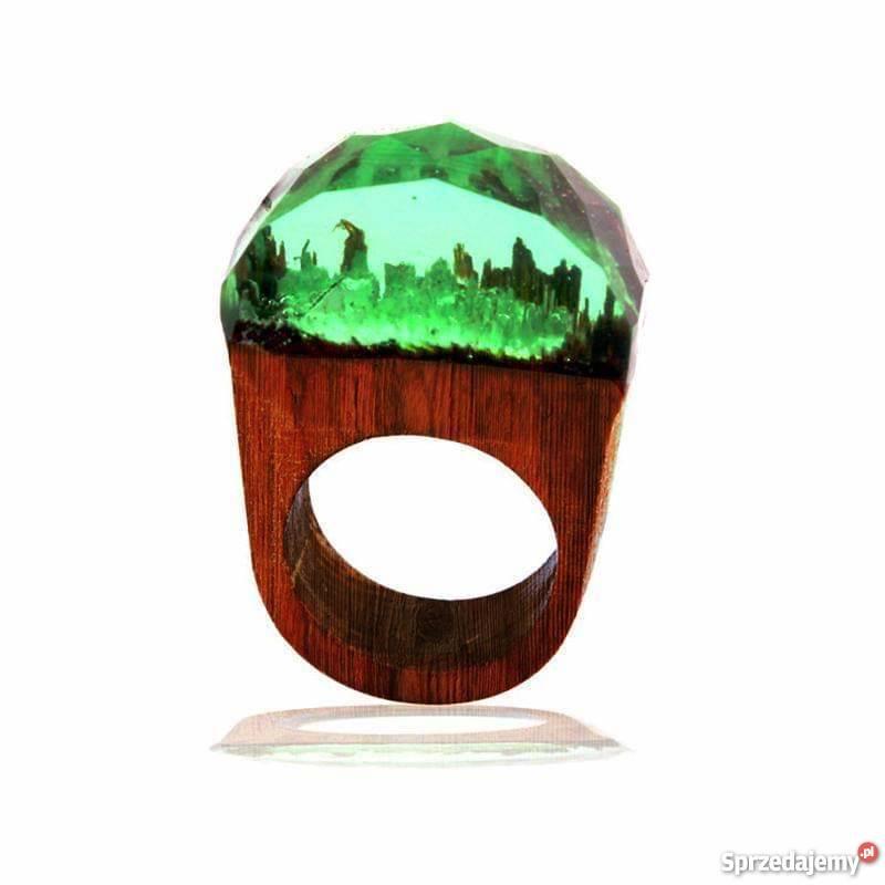 Oryginalny pierścionek drewno z żywicą mazowieckie Warszawa