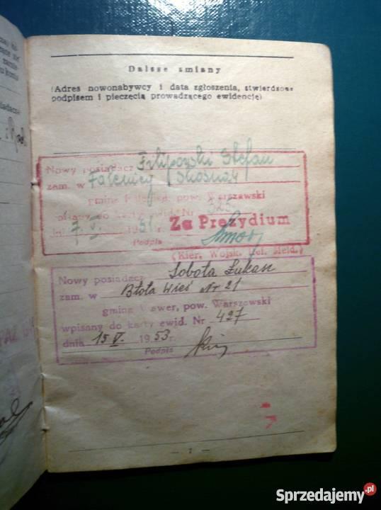 Dowód tożsamości KONIA 1949 sprzedam