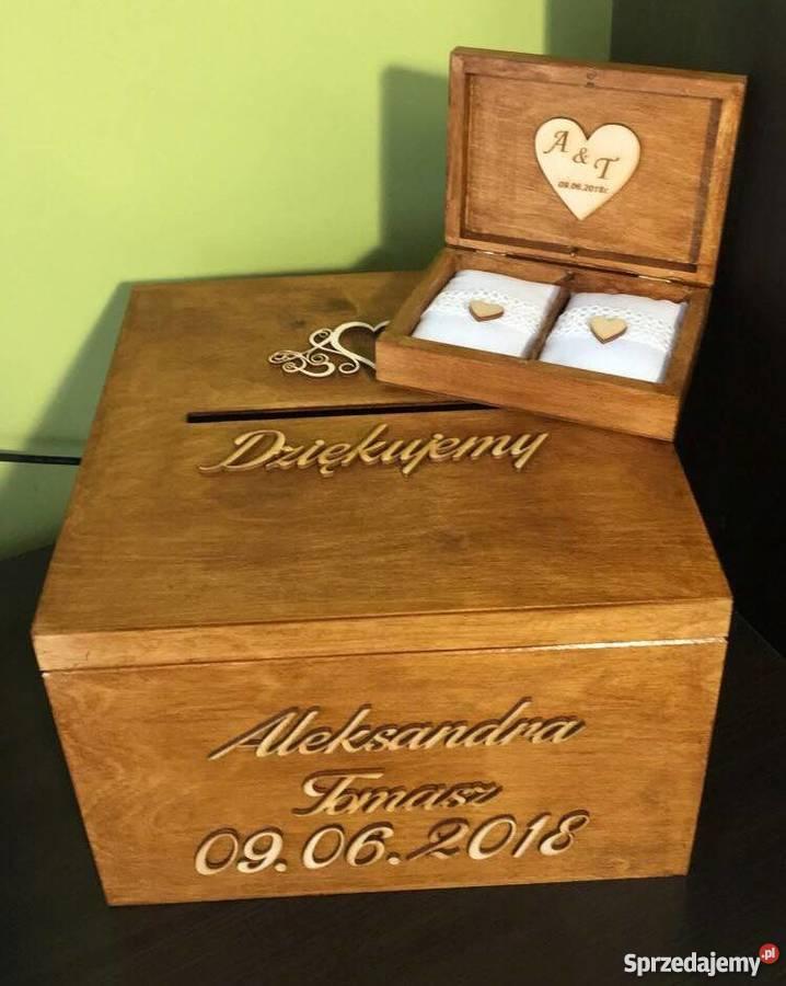 drewniane pudełko na koperty pudełko na obrączki mazowieckie Warszawa