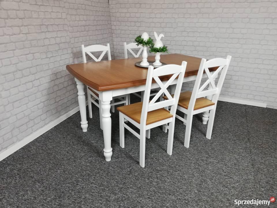 Komplet 4 krzesła i stół 120x80/190 rozkładany biały prowans