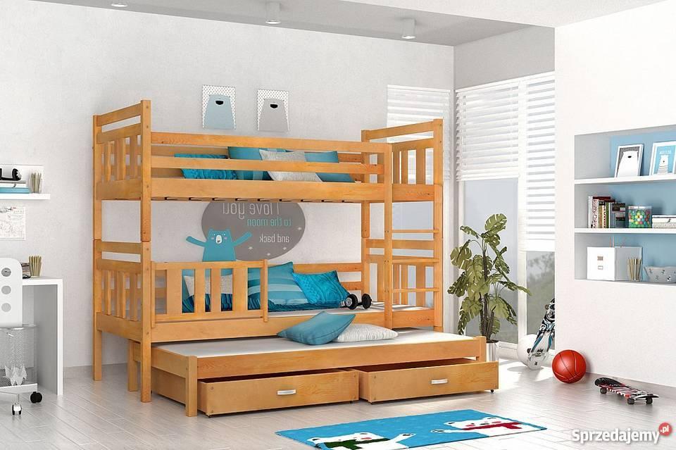 łóżko Piętrowe 3 Osobowe 3 Materace Nowe