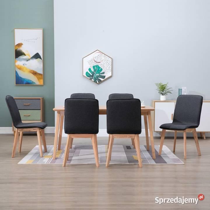 vidaXL Krzesła do jadalni, 6 szt., szare, tkanina i 276923