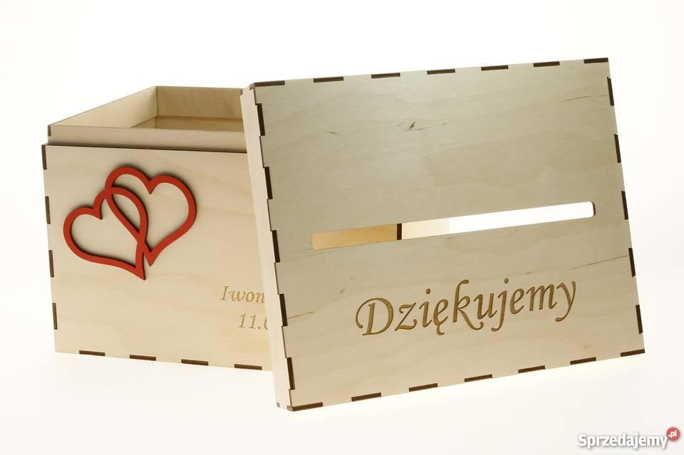 Drewniane ślubne Pudełko na koperty kartki Warszawa