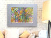 Ogród rysunek,ogród obraz,kolorowy rysunek do pokoju, salonu