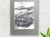 góry szkic czarno biały,krajobraz górski,góry rysunek 18