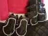 Czarne skórzane ochraniacze dla konia Glamhorse- komplet