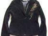 czarny żakiet z aplikacja,sztruksowy żakiet,elegancki żakiet