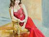 Kobieta w czerwonej sukni olej płótno złota rama 80x80