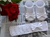 Szydełkowe buciki 10 cm opaska 40 - 42 Chrzest