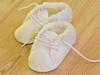 Białe, materiałowe buciki (10 cm) idealne do chrztu