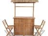 vidaXL Bambusowy bar z dwoma krzesłami 41500