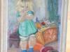 Olej na płótnie dziecko w bawialni podpisany datowany 1943r