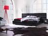 Łóżko BLACK mega zagłówek + 2 pufki + materac do wyboru HIT