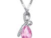 Naszyjnik, kamień różowy prezent na walentynki