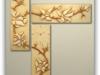 Stylowa płaskorzeźba z funkcją zegara i motywem kwiatów magnoli - miniaturka