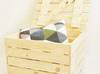 Kufer drewniany na kółkach duży 50x40x30
