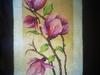 Gałązka magnolii - obraz wykonany haftem krzyżykowym - miniaturka