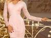 jokastyl Sukienka koronkowa długi rękaw DEKOLT pastelowy róż