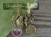 Kolczyki vintage Czaroit naturalny rękodzieło
