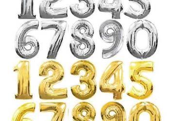 Balony foliowe cyfry liczby 100 cm ! hel srebrny złoty