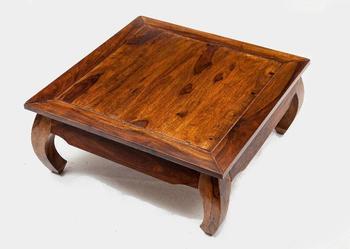 Indyjski kolonialny stolik kawowy ława opium 90x90 ręcznie robiony palisander shesham rosewood