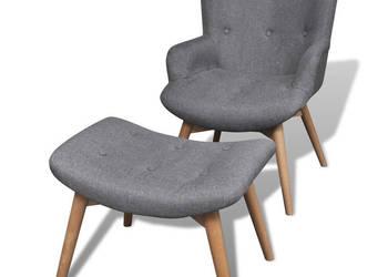 vidaXL Tapicerowany fotel z podnóżkiem, szary 241673